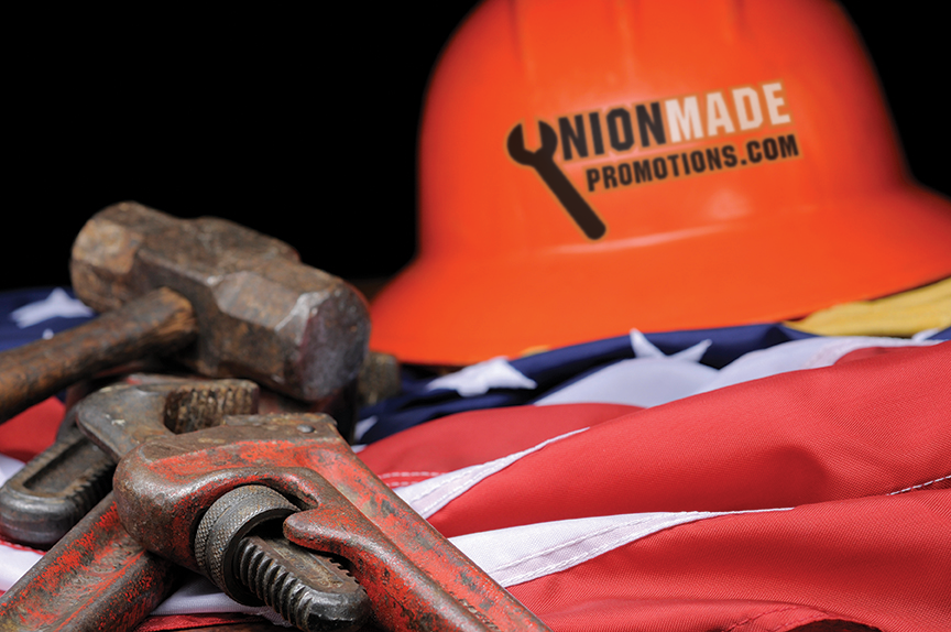 Wrench and hammer with hard hat with Unionmadepromotions.com logo on it