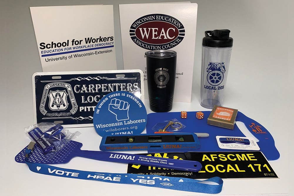 Union made promotional items including cups, dice, cards, fly swatter, lanyards and more
